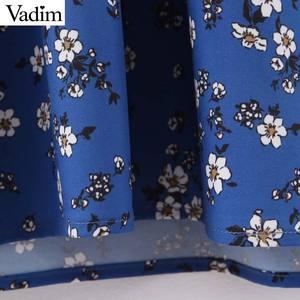 Image 5 - Vadim women floral print midi dress V neck long sleeve elastic pleated female casual stylish blue dresses vestidos QD131