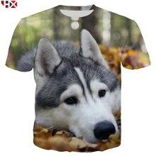 Новинка футболка с 3d принтом животного хаски Мужская Харадзюку
