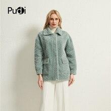 Pudi Frauen Echt Wolle Pelz Mantel Jacke Weibliche Winter Schafe Pelz Jacken Mäntel Parka Graben H986