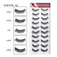 10 Pairs/pack Multipack Soft Faux Mink Hair False Eyelashes Wispy Fluffy Long Lashes 3D Makeup Tools