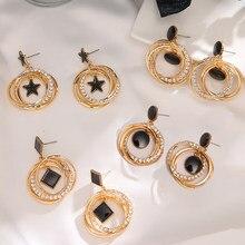 Boucles d'oreilles à breloques EN cristal pour femmes, bijoux géométriques ronds et carrés, étoile brillante, 2020