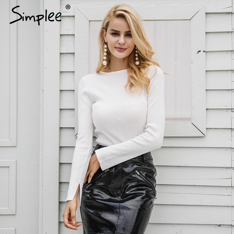 Simplee White knitted pullover sweater women Sexy elastic long sleeve knitting pullover Casual autumn winter jumper pullover knitting