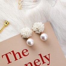 Pendientes de estilo hecho a mano Vintage con perlas de imitación, pendientes de tuerca con flores, joyería geométrica elegante coreana de Japón para mujer, regalos para chica