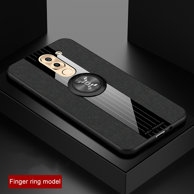 For Huawei <font><b>Honor</b></font> 6X <font><b>Case</b></font> Fabric <font><b>Hard</b></font> Back Cover Soft Frame Cloth Phone <font><b>Case</b></font> For Huawei Mate <font><b>9</b></font> <font><b>Lite</b></font> 5.5 inch Magnetic Ring Holder image