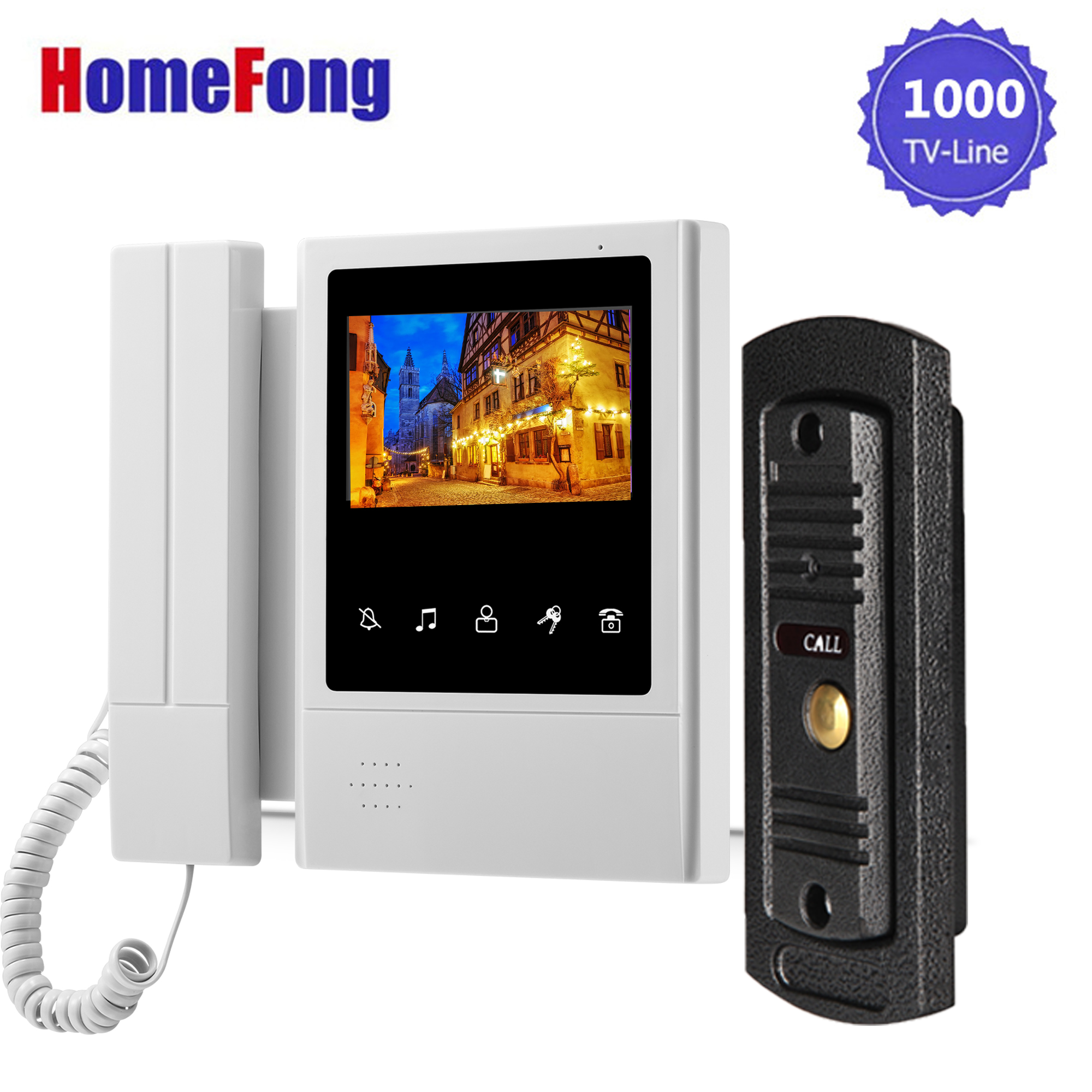 Homefong 4.3 Inch Wired Video Door Phone Intercom System Doorbell With Camera 1X Monitor And 1X 1000TVL Outdoor Station