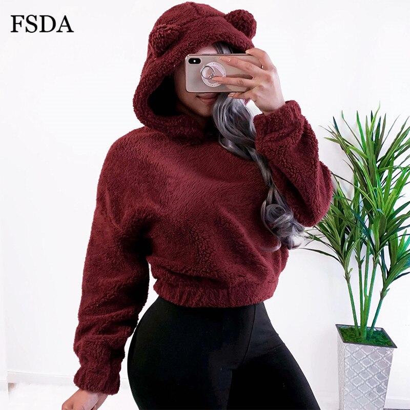 FSDA Bear Ears Crop Women Hoodies Fleece Plush Autumn Winter Warm Pullovers Black Red Long Sleeve Cute Casual Short Sweartshirt