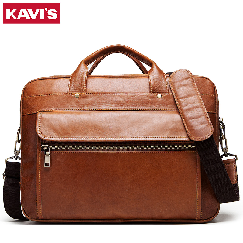 KAVIS 100% Genuine Leather Men's Briefcase Business Travel Handbag Laptop Large Shoulder Bag Messenger Bolsas Tote High Quality