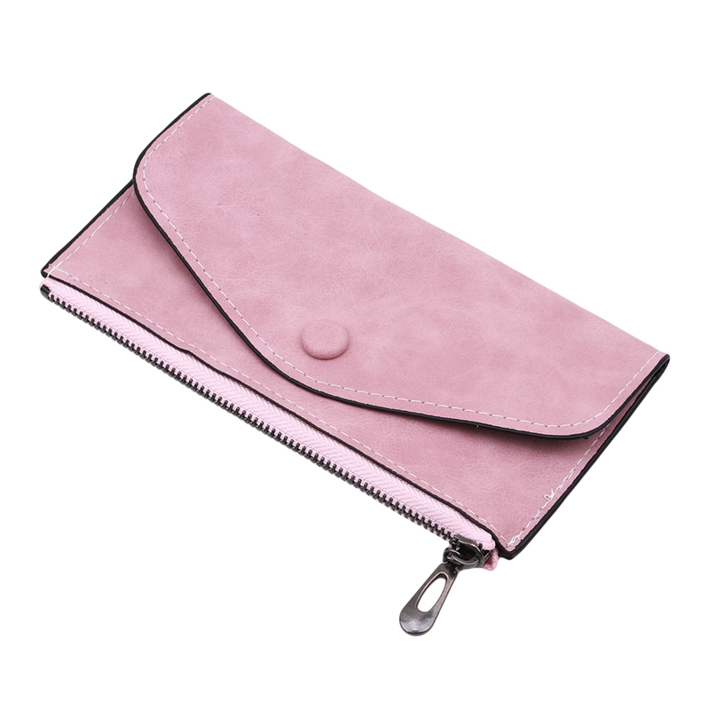 2019 Matte Leather Women's Wallet Zipper Bag Vintage Female Wallet Purse Fashion Card Holder Phone Pocket Long Women Wallet