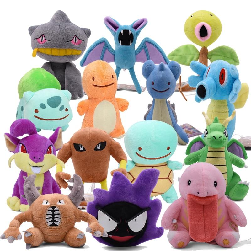 Machop Hitmonlee Lickitung Rattata Gastly Pinsir Zubat Weedle Lapras Dragonite Charmander Squirtle Bulbasaur Stuffed Plush Toys