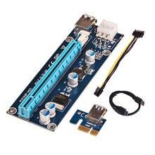 Novo 006c pcie 1x para 16x express riser cartão gráfico pci-e riser extensor 50/80cm usb 3.0 cabo sata para 6pin power para mineração btc