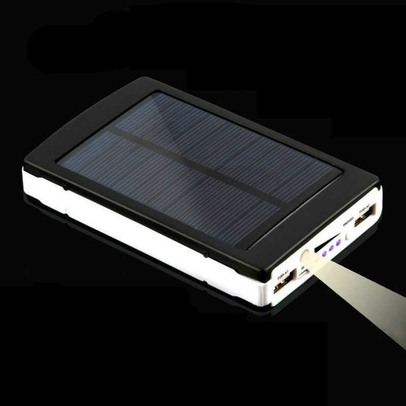 Power Bank 30000Mah Zonnepaneel Grote Capaciteit Draagbare Mobiele Telefoon Oplader Led Verlichting Dual Usb Mobiele Power Externe Batterij