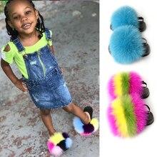 Children Real Fur Slippers Girls Soft Rainbow Raccoon Fur Shoes Flat Plush Sandals Cute Fur Slides Toddler Home Slides Flip Flop