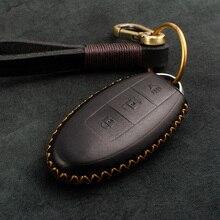 1個本革車のキーカバーキーケースインフィニティex fx G25 G37 FX35 EX25 EX35 FX37 EX37 q60 QX50スマートキーチェーン