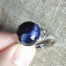 top quality namibia natural pietersite blue light adjustable ring 11x11mm chatoyant round 925 sterling silver aaaaa Natural Pietersite Blue Light Gemstone Ring Chatoyant Adjustable Size 11x11mm Round Oval Namibia Woman 925 Sterling Silver AAAAA
