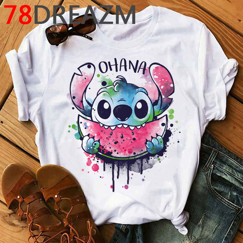 Summer Top Lilo Stitch T Shirt Women Ulzzang 2020 Kawaii Cartoon Stitch Ohana Graphic Tees Women Plus Size Unisex T-shirt Female