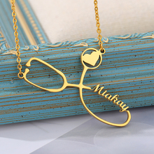 Custom Name Stethoscope Necklace for Nurse Doctor Gift Personalized Gold Sliver Chain Dainty Name Necklace Graduation Gift