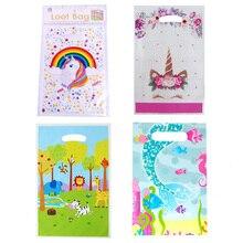 Sacs cadeaux en plastique pour enfants, décoration d'anniversaire, licorne, sirène, sac à bonbons, fournitures de fête de mariage