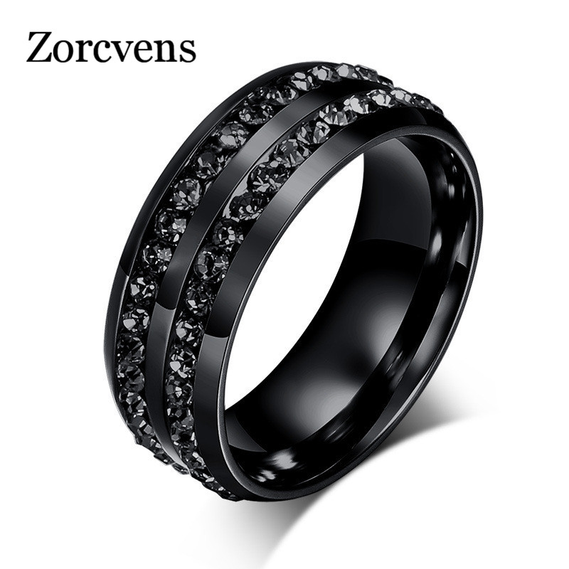 ZORCVENS High Quality Male Punk Vintage Black Stainless Steel Jewelry Two Rows CZ Stone Wedding Ring for Man Woman