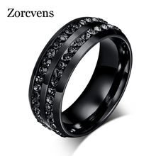 ZORCVENS High Quality Male Punk Vintage Black Stainless Steel Jewelry Two Rows CZ Stone Wedding Ring for Man Woman(China)