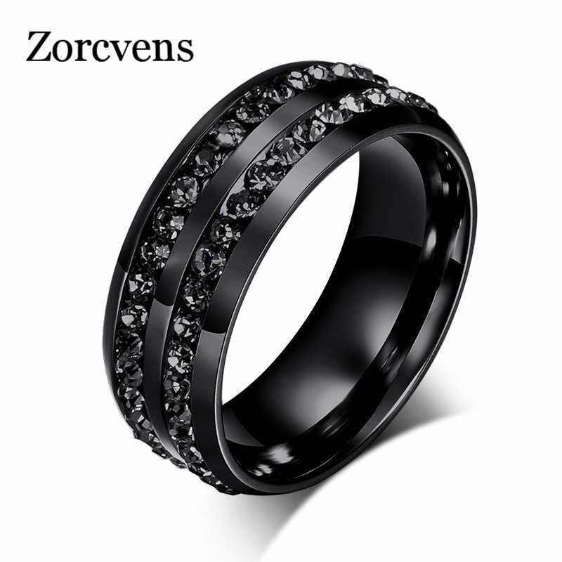 Zorcvens Kualitas Tinggi Punk Vintage Hitam Stainless Steel Perhiasan Dua Baris CZ Batu Pernikahan Cincin untuk Pria Wanita