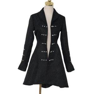 Image 2 - ヴィンテージスチームパンクゴシックスタイルの綿のジャケットリベットタキシードコート女性のための生地スリムアリコートトップ女性黒