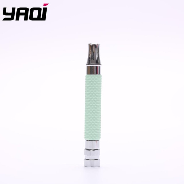 Yaqi Pistachio Green and Chrome Color Brass Safety Razor Handle