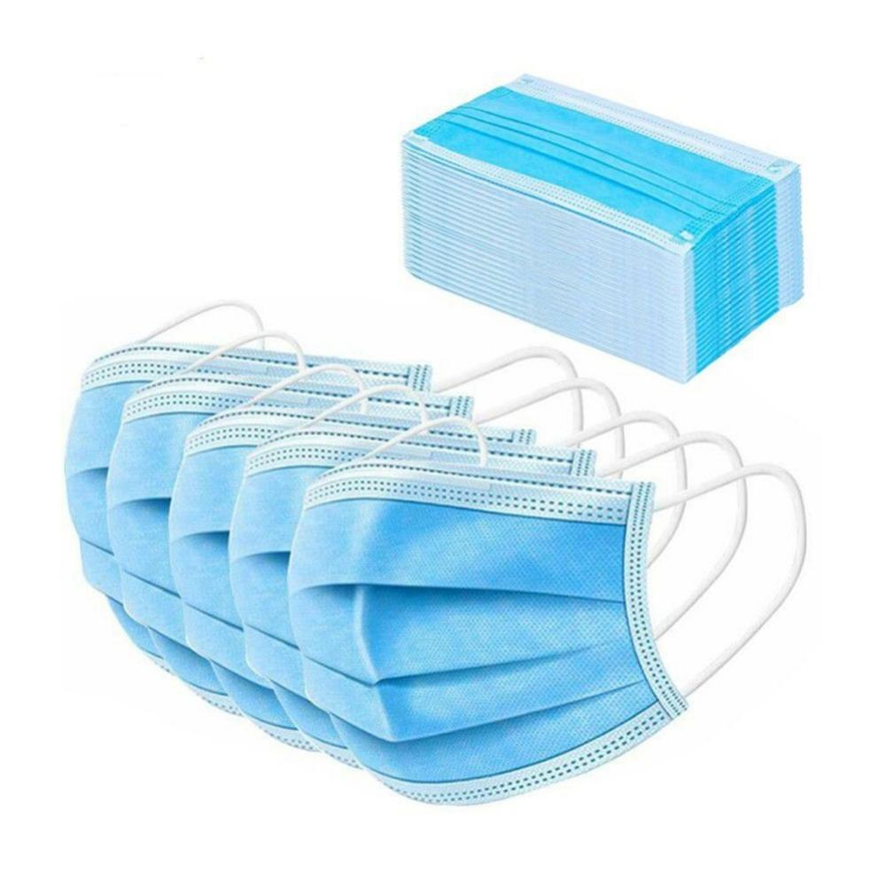3-Layer Disposable Mask 20/50/100Pcs/Pack Pm 2.5 Nonwoven Breathable Single-use Mouth Dust 3ply Face Masks Shields