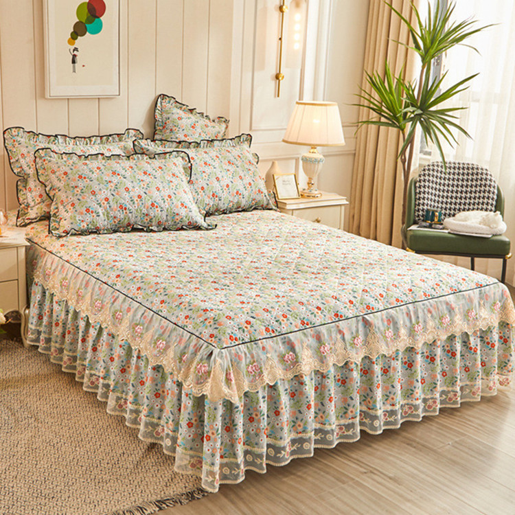 Flower Series Lace Bed Spreads Princess Style Bedding Set Luxury Soft Bed Skirt King Size Duvet Cover Pillowcases Home Textiles