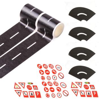 Play Tape Black Road Sets EKIND for Toy Car DIY Traffic Road Adhesive Removable Tape 48mmx5m railway road washi tape wide creative traffic road adhesive masking tape road for kids toy car play