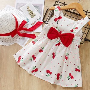 Melario Children's Clothing Baby Girl Clothes Summer Party Clothing for Girls Dress Cherry Dot Princess Dresses Bow Hat Outfits(China)