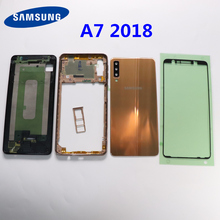 SAMSUNG Galaxy A7 2018 A750 A750F A750F/DS Battery Cover Rear Door Full Housing Cover Case Back Glass A7 A750F Middle Frame