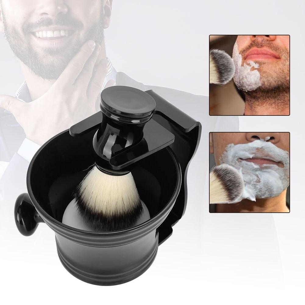 Juego de brochas de afeitar 4 en 1 con soporte para brochas y cuenco de jabón y Kit de afeitado para hombres, brocha de afeitar para hombres, herramienta de limpieza de barba