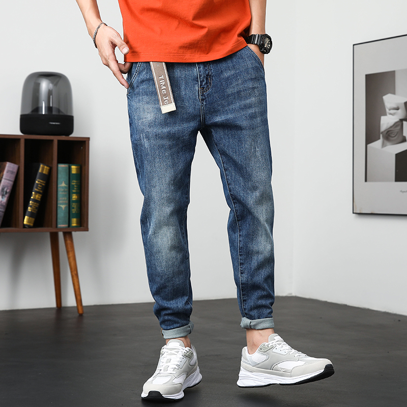 Blue Jeans Men Slim Fit Stretch Casual Pants Denim Clothes Spring and Summer Top Quality Mens