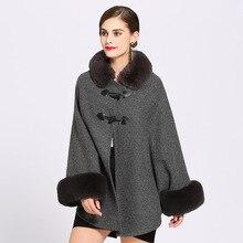 New 2019 Fashion Women Winter Jacket Faux Fur Collar Batwing Sleeve Woolen Warm Cloak Ponchos Cape Coat Wool Blends Outerwear batwing sleeve wool cape coat