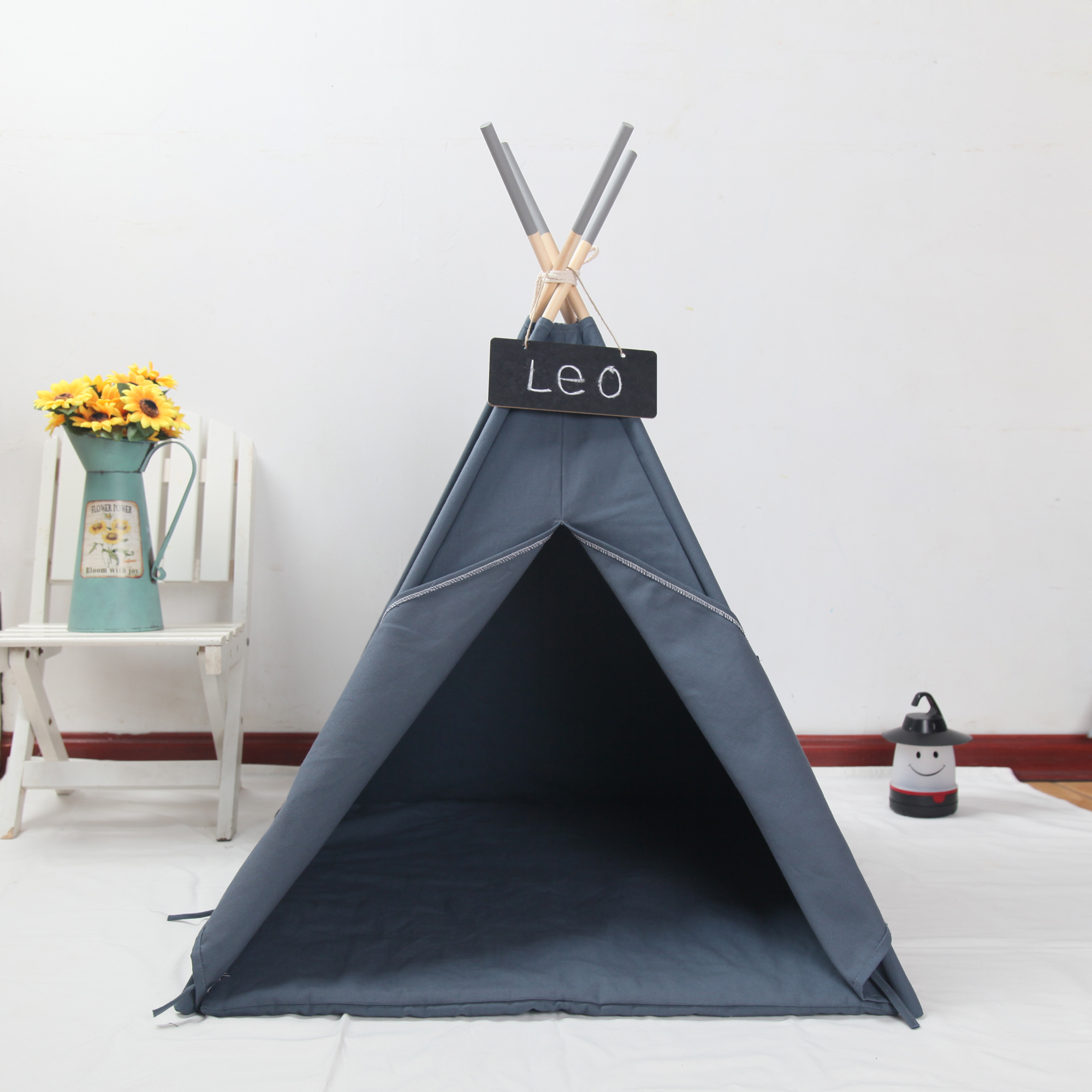 Grey Canvas Dog Teepee With Mat 24