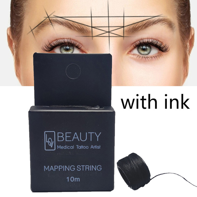 Hot MAPPING STRING Microblading Pre-Inked Eyebrow Marker Thread Tattoo Brows Point 10m Pre Inked Tattoo PMU String for Mapping 5