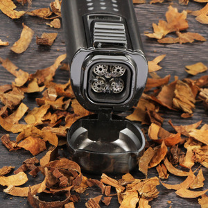 Image 3 - Cohiba preto 4 vermelho tocha jato de fogo à prova de vento charuto isqueiro clássico recarregável cigarro chama isqueiro built in perfurador broca