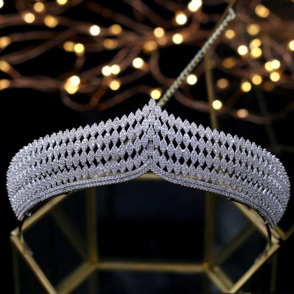 Новая циркониевая Корона, элегантная королевская тиара, Свадебные короны, принцесса, украшения для волос, повязка на голову, свадебные аксе...