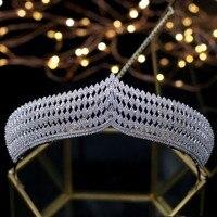 New Zircon Crown Elegant Royal Tiara Bridal Crowns Princess Hair Jewelry Headband Wedding Hair Accessories Wedding Tiaras