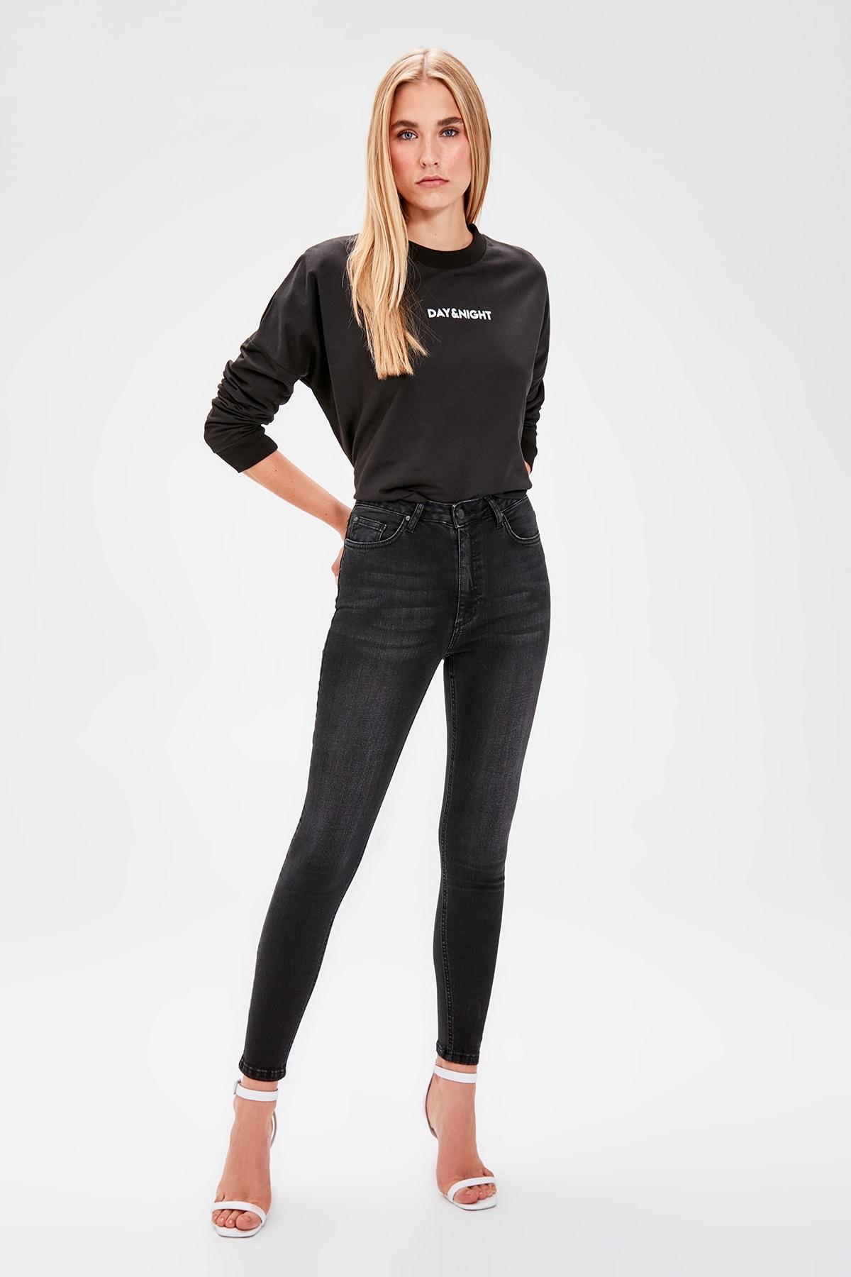 Trendyol Black High Waist Skinny Jeans TWOAW20JE0112
