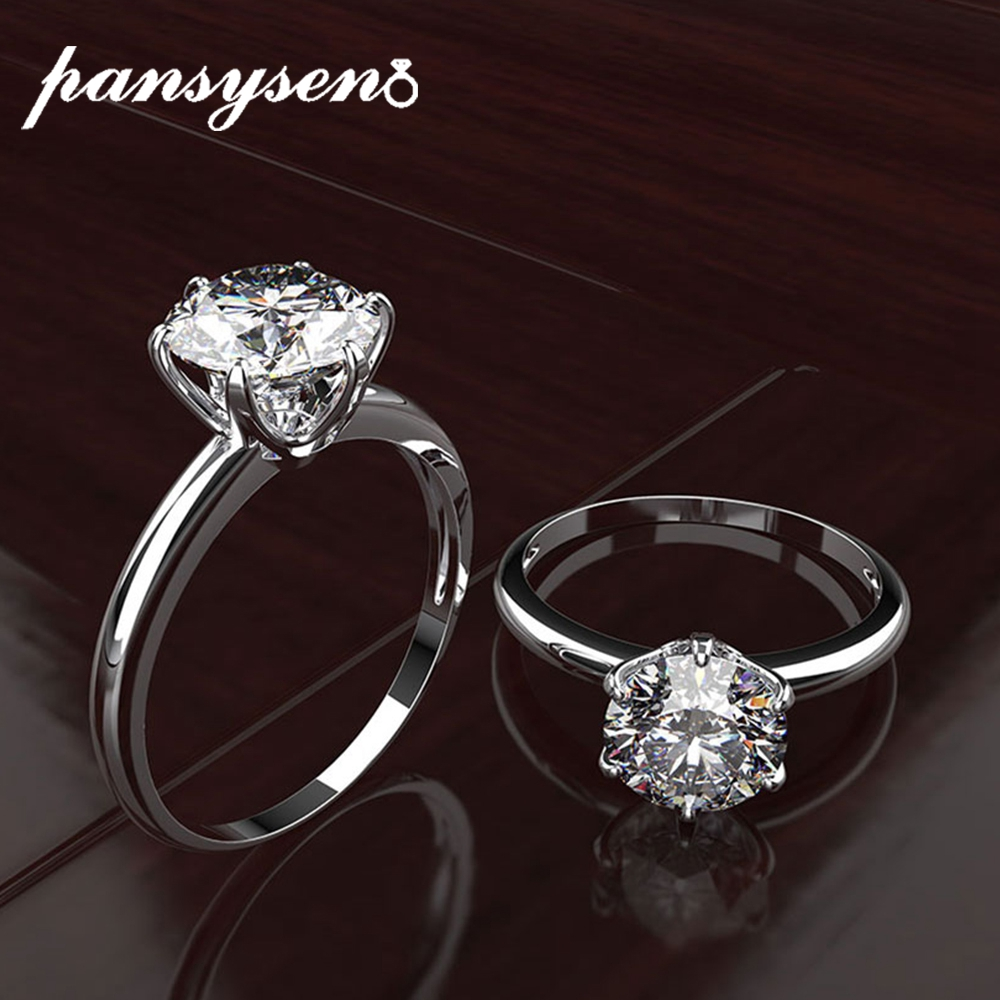PANSYSEN Top Brand Engagement Rings For Women 100% Real Silver 925 Jewelry Created Moissanite Gemstone Ring Fine Jewelry Gifts