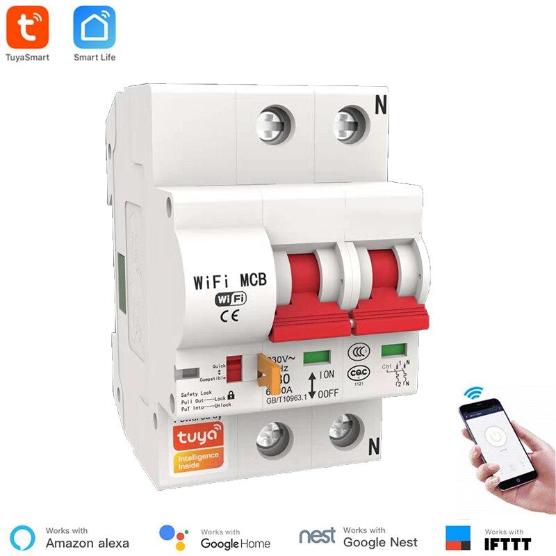 Protection automatique de court-Circuit de surcharge de commutateur du disjoncteur 2P de WiFi de vie intelligente Alexa Google accueil IFTTT compatible