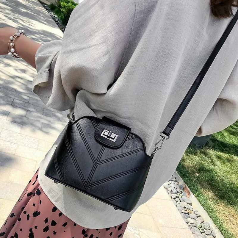 Bolsa casual de couro ecológico feminina, bolsa de ombro com fecho em couro sintético de poliuretano, novo estilo carteiro, 2020
