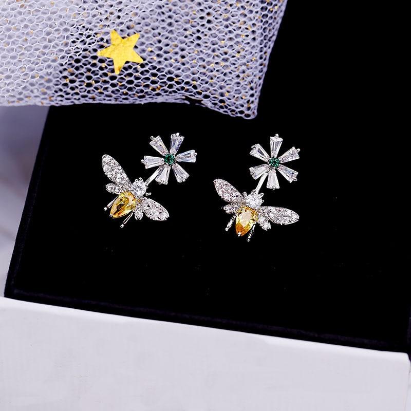 Newest Micro-set Zircon Yellow Zircon Small Bee Flower Daisy Daily Wild Women's 925 Silver Needle Earrings For Women