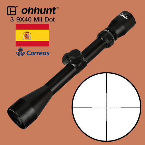 ohhunt 3 9x40 riflescope mil dot reticle caca mira optica para tiro tatico rifle de
