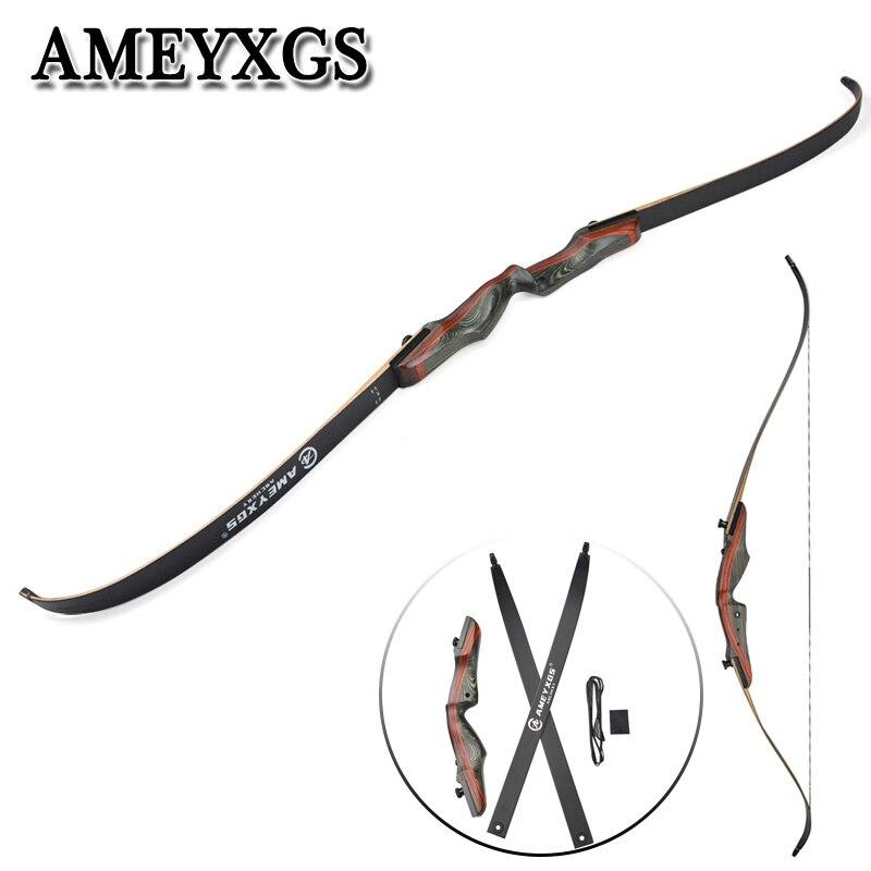 1 pièces 62 pouces arc classique 20-50lbs noir arc membres érable haute résistance, feuille iaminée matériel bois Longbow chasse tir