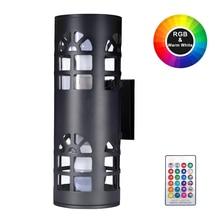 RGB 20W Luz de jardín de doble cabeza IP65 impermeable LED luz de pared dispositivo lámpara de pared al aire libre jardín Luz