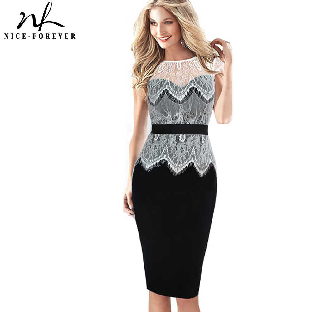 Nice-forever Hollow out Transparant Wit Kant Top Jurk Elegante dame Patchwork Pinup Tuniek Bodycon Shift Potlood Jurken 778