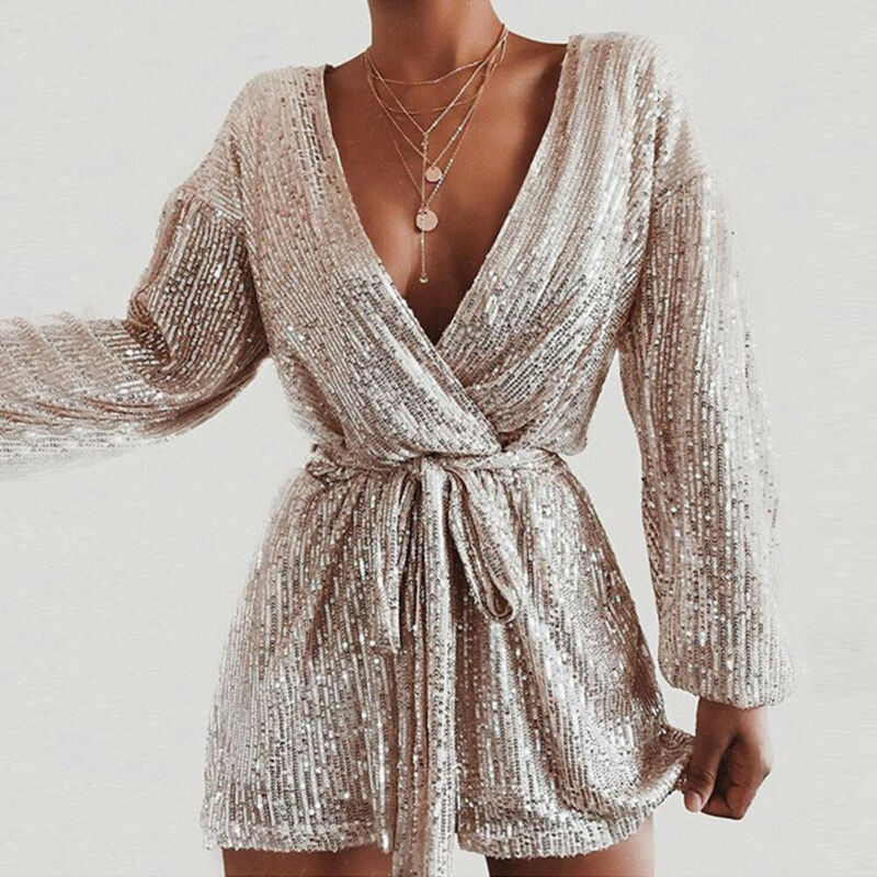 Sexy Womens Sequins Jumpsuit Deep V-Neck Long Sleeve Gold Playsuit Shorts Romper Bodycon Trousers