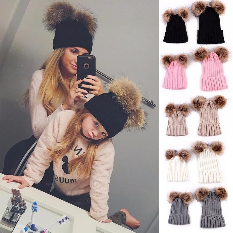 Zollrfea 2019 Winter Warm Double Plush Ball Cap Hat For Women Baby Girls Boys Knitted Beanies Cap Hat Thick Female Autumn Gorro